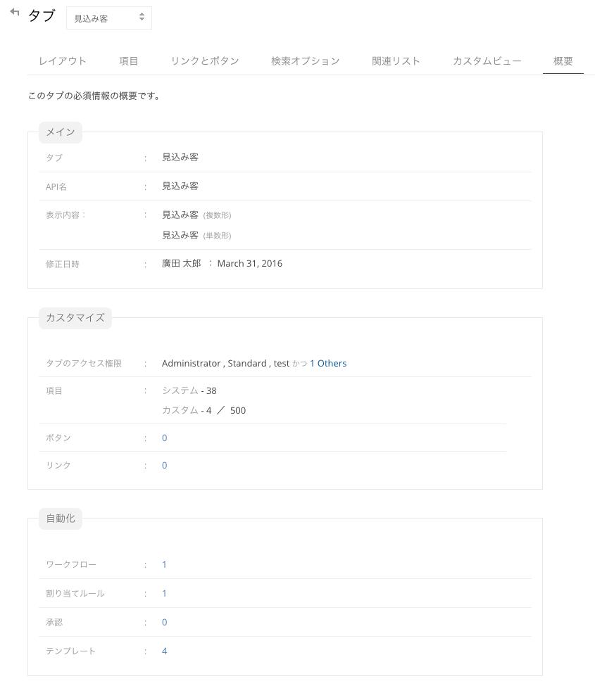 カスタマイズ>タブ>概要